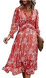 ZIYYOOHY Damen Lange Kleid Chiffon Rüschen mit Tief V-Ausschnitt Blumendruck Sommerkleid Cocktailkleid Partykleid Maxikleid Strandkleid Blusenkleid (L, 3055-Rot, Numeric_40)