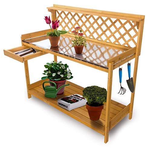 bonsport Pflanztisch aus imprägniertem Holz, wetterfest - Gärtnertisch mit Schublade und Zinkplatte