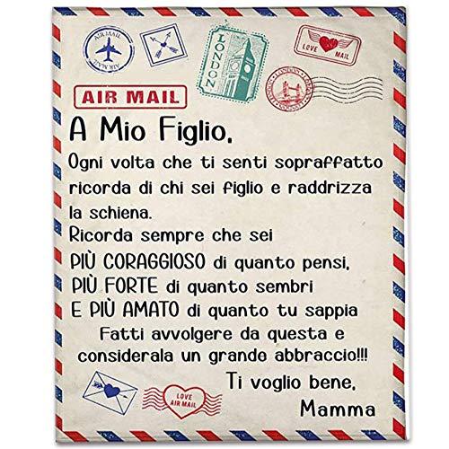 QIDIAN Manta de Lana Postal para Hija/Hijo, con Carta Personalizada Cubierta de Franela escrita en Italiano, Carta de papá o Madre a Hija/Hijo,Madre in figlio,150 * 200cm
