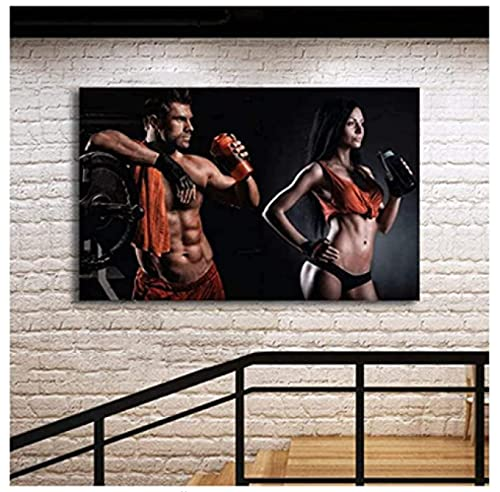 Impresiones para paredes Sexy Men Fitness Bodybuilding Poster Gym Canvas Painting Posters Sala de estar Decoración para el hogar Regalo Wall Art Decor-60x80cm Sin marco