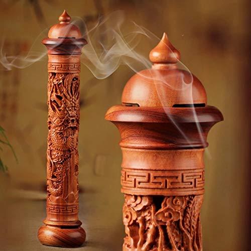 MDKAZ 1 rökelsehållare + 20 spiralrökelse vertikal rödved massivt trä rökelsebrännare trä rökelsepinnar vardagsrum pinne rökelse meditation yoga sömn hjälp avslappning