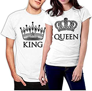 picontshirt King and Queen Couple T-Shirts White Crowns - White - Men XL / Women XXL