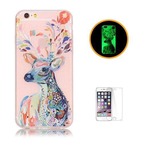 CaseHome Compatible For iPhone 6 Plus/6S Plus 5.5 Luminoso Funda Gel de Silicona Suave Transparente TPU Caucho a Prueba de ChoqueProteccion Espalda Caso CubrirEstuche Cubierta-Acuarela Ciervo