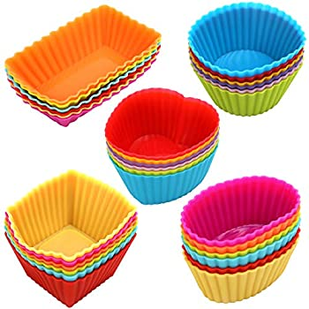 Cupcakes liners 30 Pack Reusable Silicone Baking Cups Nonstick Muffin Cake Molds 5 Shapes 6 Color for Making Gelatin Snacks Frozen Treats Ice Cream or Chocolate Shell-lined Dessert