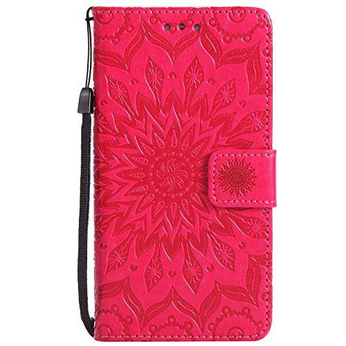 LAFCH Handyhülle für P9 Lite Hülle, Premium Mandala Geprägtes Muster PU Leder Flip Schutzhülle für Huawei P9 Lite, mit Karteneinschub, rot