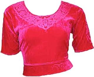 Trendofindia Top Choli de Terciopelo Rosa para Bollywood Sari, Tallas S a 3XL (6 Unidades)