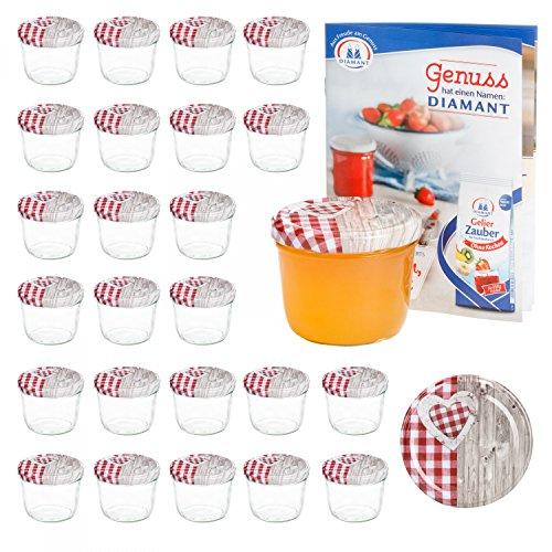 MamboCat 25er 230 ml Sturzglas-Set | Einmachgläser + Twist-Off-Deckel Holz-Herz rotkariert + GRATIS Rezeptheft | einkochen & konservieren | backofengeeignet