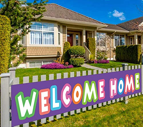 Colormoon Large Welcome Home Banner, Homecoming Party Decorations, Housewarming Party Decorations, Military Homecoming, Return Party Sign (9.8 x 1.6 feet)