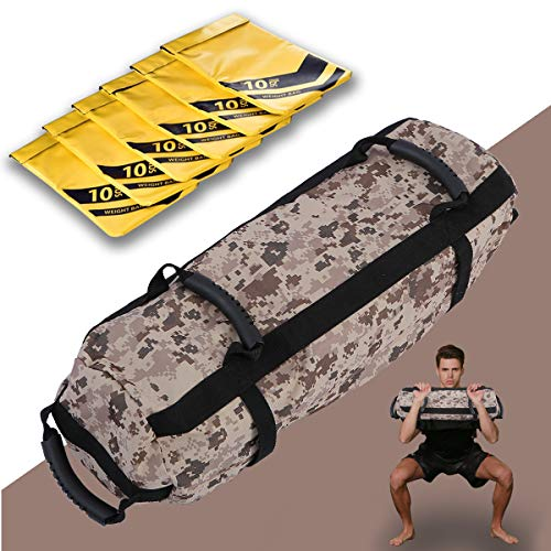 Estleys Workout Sandbag for Fitness 10 to 60 Lbs, Adjustable Military Sandbags, Training Weight Bags, Full Body Exercise Equipment with Filler Bag(Camo 1)