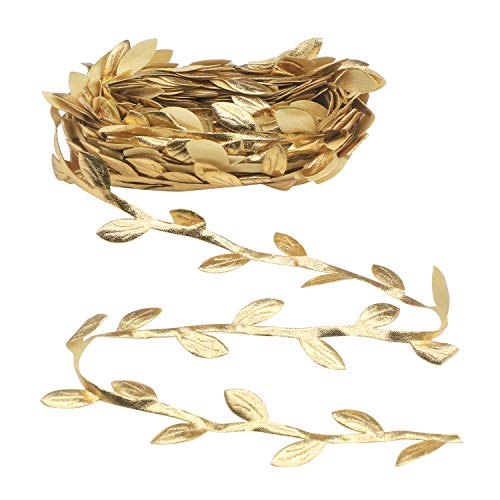 Soleebee Gold Leaves Leaf Ribbon, 11 Yards Vine Leaves Ribbon Trim Perfect Decoration for DIY Craft, Garland, Party, Wedding (Gold)