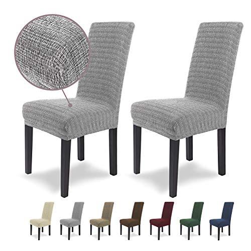 SCHEFFLER-Home Anna 2 Fundas de sillas, Estirable Cubiertas, Moderna extraíble flexibel Funda con Banda elástica, Gris