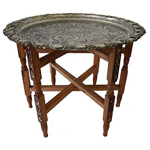 Simandra Marokkanischer Tisch Beistelltisch Teetisch orientalisch mit Silbertablett -groß- Farbe Motiv 3