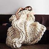 SPRINGWIND Chunky Knit Blanket Handmade Bulky Soft Bed Sofa Throw Blanket Inch (2424 Inch, Dark Grey)