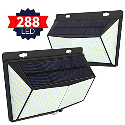 Solar Lights Outdoor 288 LED, Solar Powered Motion Sensor Security Light Outdoor with 300° Lighting Angle IP65 Waterproof Hanging Solar Light for Pathway Garden Fence Walkway (2 Pack/ 3 Modes)