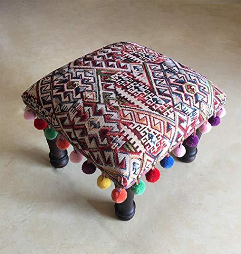 Stoool Ottoman Galerie Indian Pouff Hocker ethnischen bestickten Pouf Cover, indische Baumwolle Runde Pouf Ottoman Pouf Cover Kissen ethnischen Dekor Art Bunt