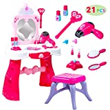 Toddler Fantasy Vanity Beauty Dresser Table Play set with Lights, Sounds, Chair, Fashion & Makeup Accessories for Kid and Pretend Play, Toy for 3,4,5 yrs kids