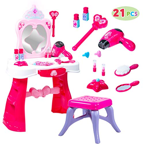 JOYIN Toddler Fantasy Vanity Beauty Dresser Table Play Set with Lights, Sounds, Chair, Fashion & Makeup Accessories for Kid and Pretend Play, Toy for 2,3,4 yrs Kids