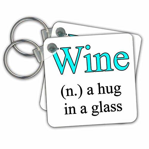 3drose Wine A Hug in een glas, aqua – sleutel kettingen, 5,7 x 5,7 cm, set 2 stuks (KC 202918 1)