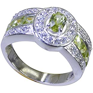 Jewelryonclick Genuine Green Peridot Sterling Silver Wedding Rings for Women Chakra Healing Gift Size T:Eventmanager
