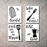 Kitchen Wall Decor Art Prints 4 UNFRAMED Rustic Wall Signs Home Coffee Decor Pictures Funny and Inspirational Farmhouse Style Wall Decorations Living Dining Room Cuadros pared de cocina (BW, 11X14)
