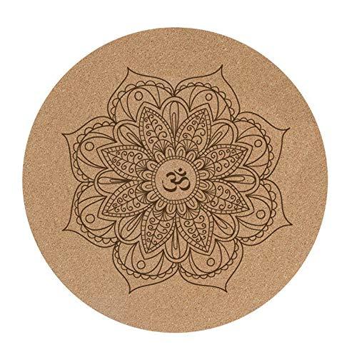 Cork Kleine Ronde Yoga Mat, Non-Slip Natural Rubber Spelen Kussen meditatiemat 60X60cmx3mm Non-Slip Mat van de Yoga Fitness Mat Pilates Mat Buiten Thuis
