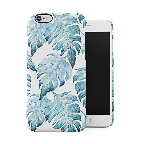DODOX Tropical Pale Blue Jungle Leaves Floral Pattern Case Compatible with Apple iPhone 6 / iPhone 6S Snap-On Hard Plastic Protective Shell Cover Carcasa
