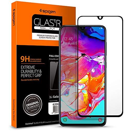 Spigen, Panzerglas Schutzfolie kompatibel mit Samsung Galaxy a70, Schwarz Volle Abdeckung, Kristallklar, 9H gehärtetes Glas, Antikratz, Glas 0.33mm, Galaxy a70 Panzerglas (620GL27422)