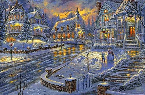 Blanriguelo 1 000 bitar pussel tonåringar barn jul stadsvikt * utmanande spel utmaning pussel för