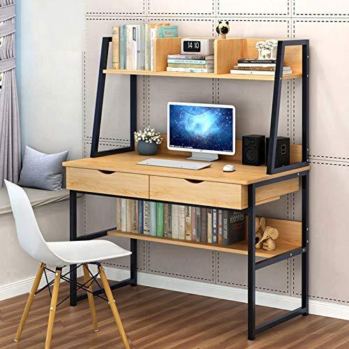 RYSB Escritorio De Oficina Cajones,Escritorio del Hogar Estantes De Almacenamiento Estilo Moderno Mesa para Portátil,Montaje Simple Trabajo Estudio Mueble Mesa
