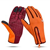 Acant Männer Frauen Winterhandschuhe Touch Screen Handschuhe Winddichtes Outdoor Casual Ski Radfahren Camping Wandern Thermal Vollfinger Gloves Orange-S
