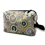 Seventies Bohemian Rock Inspired Geometric Circles and Stars In Navy and Green Makeup Organizer Cosmetic Bag Pouch Pencil Case Travel Set Womens Girls Dark Blue