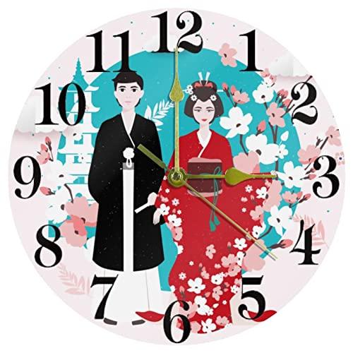 EZIOLY Reloj de pared de traje tradicional de Japón, silencioso, de cuarzo, funciona con pilas, para el hogar, la cocina/la oficina/la escuela