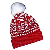 LSY Sombrero De Punto De Alce con Copo De Nieve De La Serie De Otoño E Invierno Accesorios De Ropa Femenina-Rojo, 22X27Cm