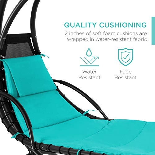 Best Choice Products Outdoor Hanging Curved Chaise Lounge Chair Swing for Backyard, Patio w/ Built-In Pillow, Removable Canopy, Stand - Teal