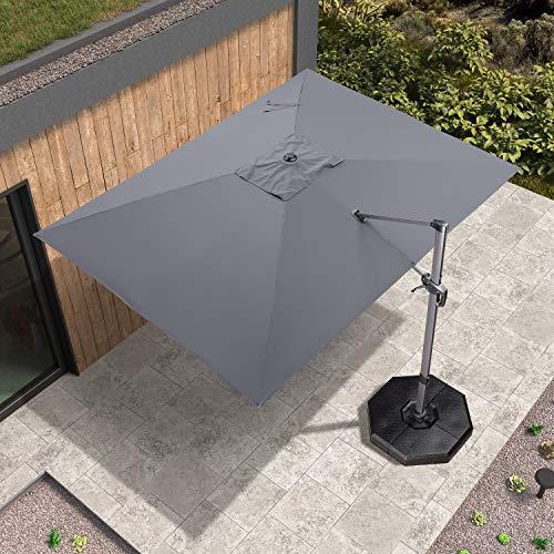 PURPLE LEAF 270 x 350 cm Luxus Rechteck Sonnenschirm Gartenschirm Kurbelschirm Ampelschirm Terrassenschirm, Grau