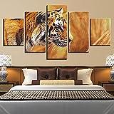 Arte de pared cuadro de pintura modular 5 paneles Animal Bullying Tigre impresiones en HD póster para el hogar lienzo decoración moderna para sala de estar