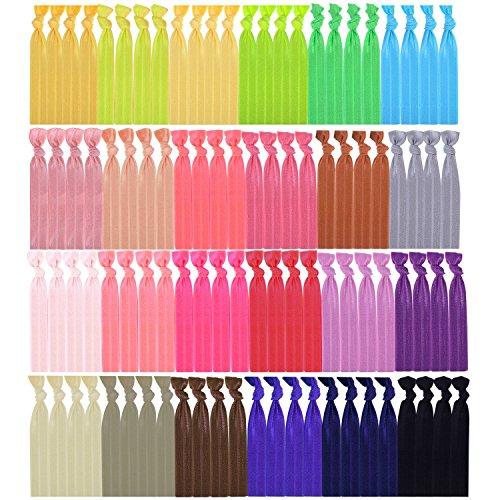 100 Stück Elastische Haargummi Keine Falten Elastische Band Pferdeschwanz Halter Haarbänder für Mädchen Frauen Jugendliche und Kinder Schleife (Mehrfarbig A)
