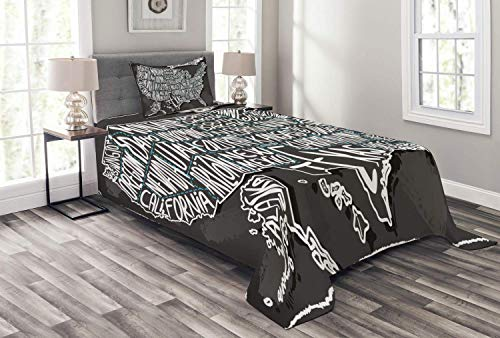 HUNKKY USA Map Bedspread, American Towns Calligraphy Style City Geography National Print, Decorative Quilted 2 Piece Coverlet Set with Pillow Sham, Twin Size, Charcoal Grey