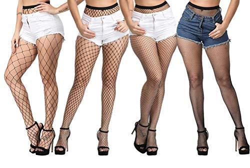 ADESUGATA Women Fishnet Stockings - 4 Pairs High Waisted Fishnets Tights Pantyhose Sheer Mesh Leggings Net Pantyhose for Dancing Party,Super Large/Large/Medium/Small Socks (Black)