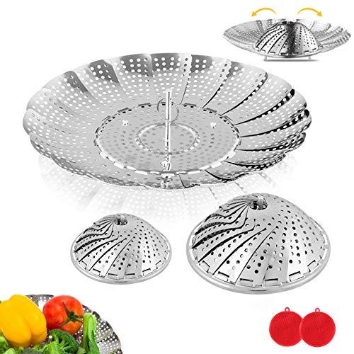 BITEFU 2 Stück Dünsteinsatz Food Grade Edelstahl Dampfgarer Einsatz,Faltbar und Einstellbar Dämpfkorb für Obst Gemüse Meeresfrüchte Kochen (2 Größen) mit 2 Free Silikon-Schwamm