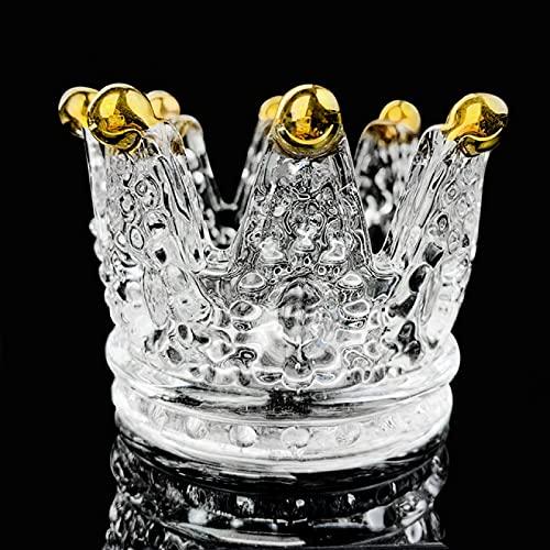 Yetier Cenicero, Cenicero Negro Transparente Corona Cristal Cigarro Cenicero Accesorio para Fumar para Regalos de decoración