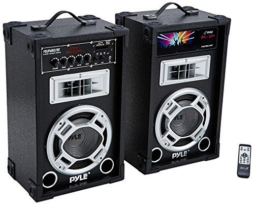 Pyle Dual 800 Watt Powered PA Bluetooth Speaker System Disco Jam Two-Way DJ Speakers | karaoke machine | USB/SD Card Readers, FM Radio, 3.5 mm AUX Input (Active & Passive Speakers) (PSUFM837BT)