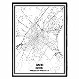 Saco Maine Vereinigte Staaten Karte Wandkunst Leinwand