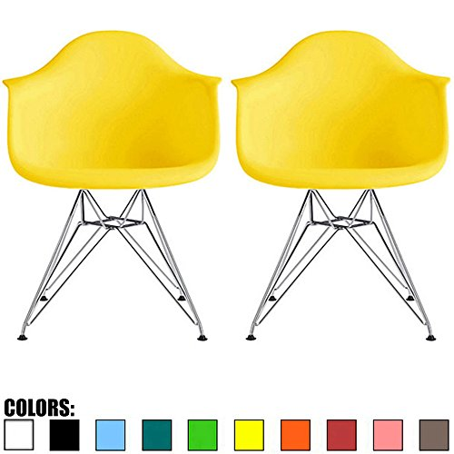 2xhome Set of 2 Yellow Mid Century Modern Vintage Designer Molded Shell Plastic Armchair with Arms Back Chrome Wire Metal Base Eiffel Dining Chairs Living Room Accent Dowel Office Guest Work Desk DAR