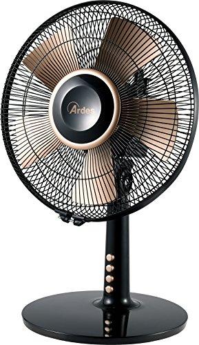 Ardes AR5D30B Eldorado 30 Ventilatore da Tavolo 5 Pale 30 cm Dorate 3 Livelli di velocità Oscillazione Automatica Dettagli Gold, Nero/Oro, Pala