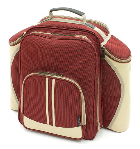 The Greenfield Collection BPS4RDH Super Deluxe Vier Personen Picknick Rucksack, weinrot