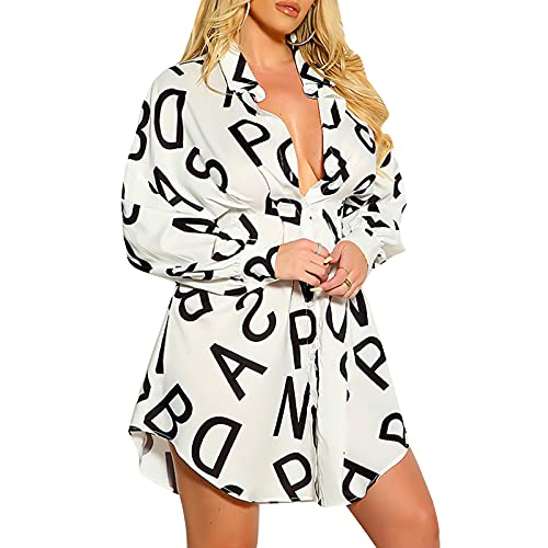 MAHUAOYIXI Blusa casual de mujer Slim-Fit con impresión de letras vestido largo con cuello de babero camisas estampadas por cintura Vestido de oficina de gasa largo, Color blanco., S
