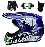 TKUI Casco da motocross MX per bambini Casco da motociclista ATV Casco da squalo multicolore certificato D.O.T con occhiali Guanti, Casco da motocross per bambini Set (Blu, M)
