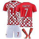 CWWAP Kroatisches Trikot 10# Modric 7# Rakitic Soccer Jersey Matchuniform , Maßgeschneiderte Trainingskleidung für Kinder mit Socken-Kits-7#-L