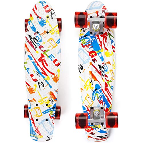 EYCI Skateboard 22×6 Inch Complete Penny Board, Mini Cruiser Skateboard, Skateboard for Kids Ages 6-12, Skateboard for Boys Girls Youths Teens Beginners